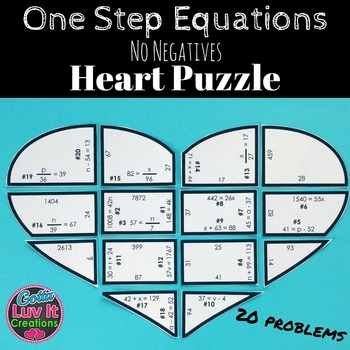 One Step Equations Math Heart Puzzle Great Math Review | Pinterest ...