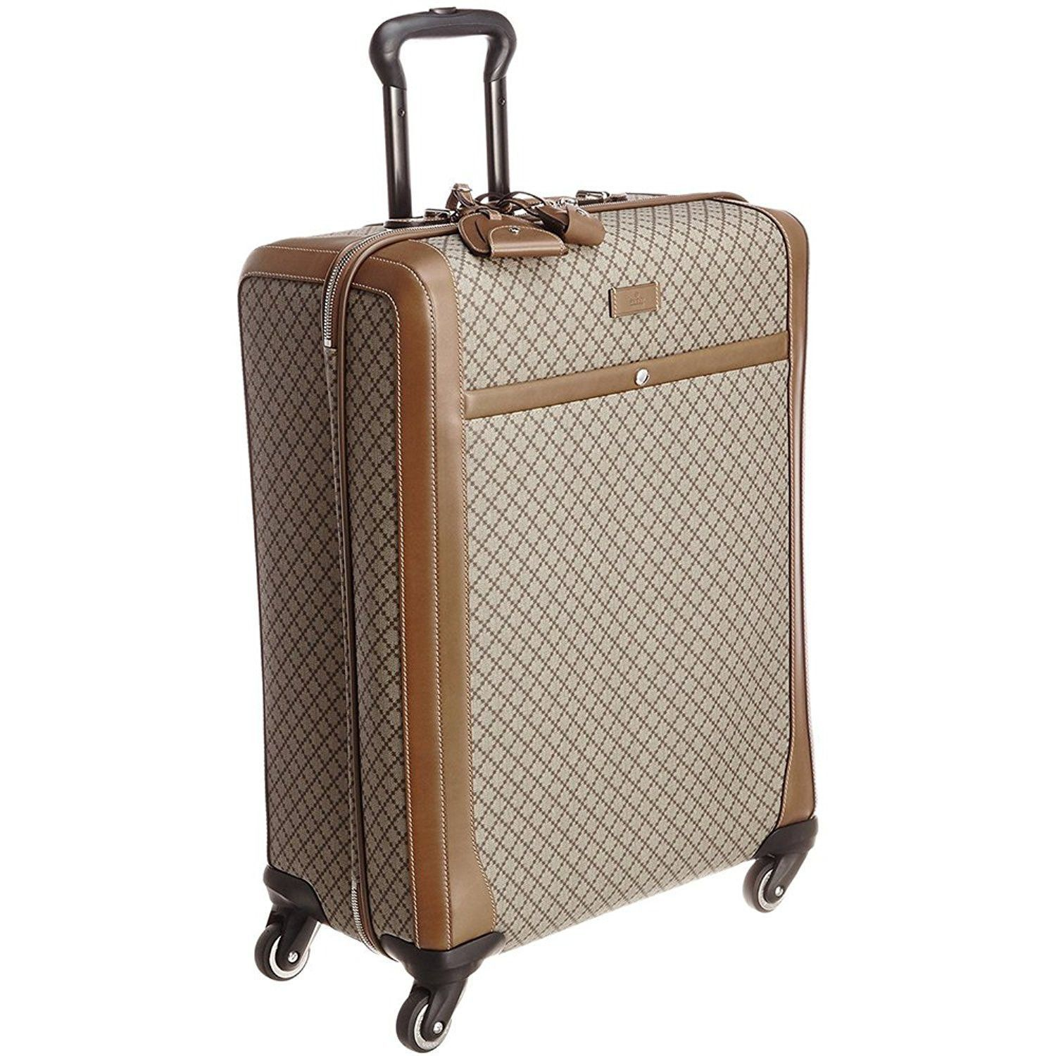 96f96c44575 Gucci Men s Wheel Brown Beige Supreme Canvas Carry-On Suitcase Luggage  293909