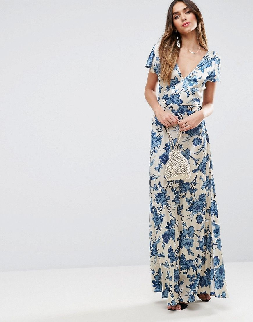 Blue and white floral maxi dress | J and K wedding | Pinterest ...