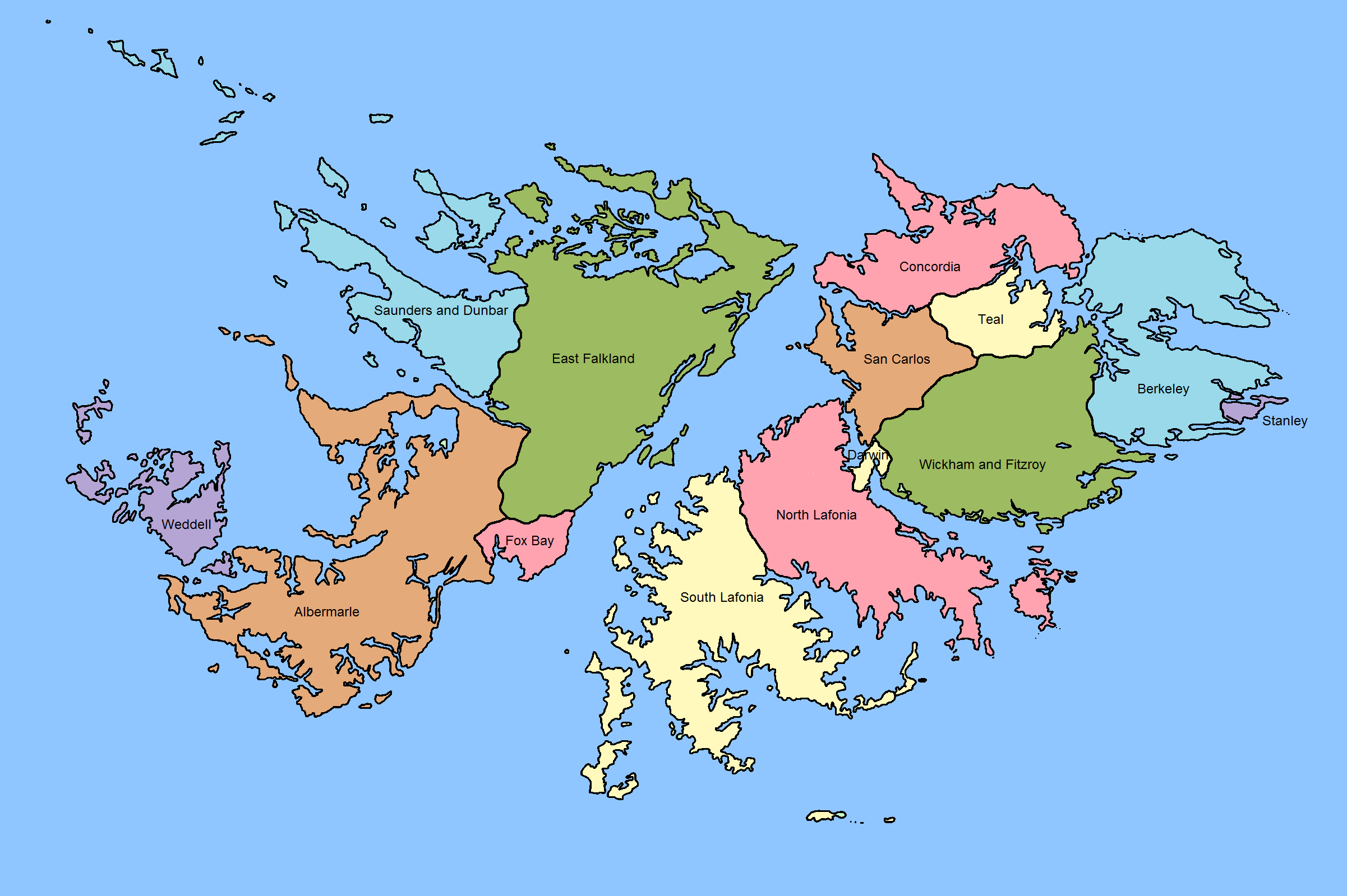 This Picture Shows The Regions Within The Falkland Islands - Falkland islands map