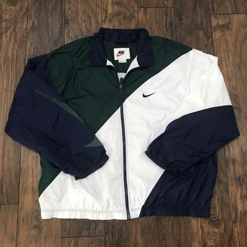 3da8ca9a33efa Vintage 90s Nike Windbreaker Jacket Big Swoosh White / Green / Navy ...
