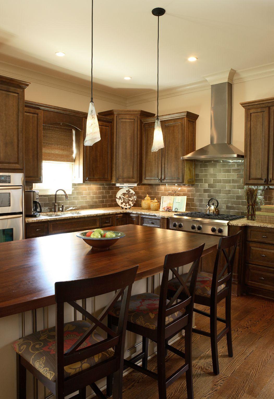 Elegant Walnut Kitchen Cabinets Granite Countertops