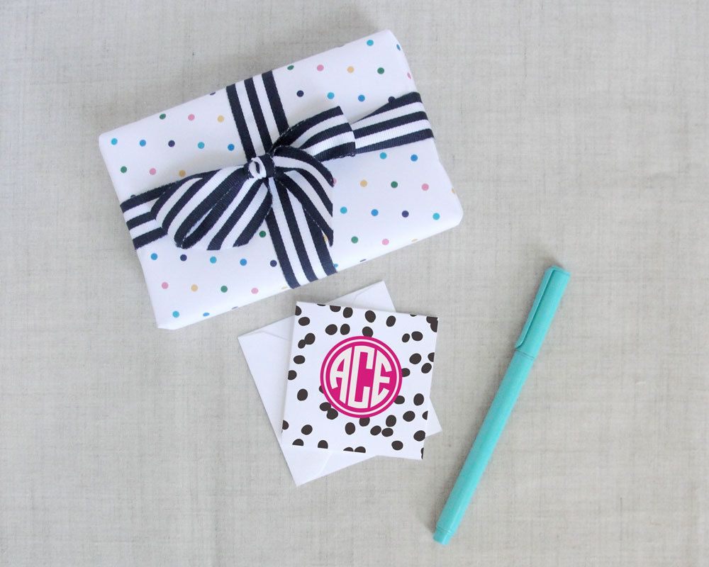 Spotted Pattern Monogram Square Folded Gift Enclosure