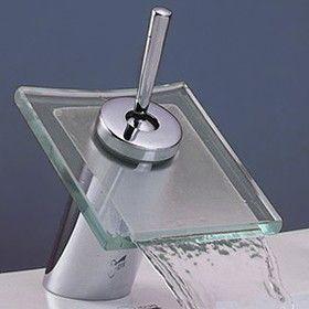 Bathroom Chrome Waterfall Modern Basin Sink Mono Round Square Mixer Tap /& Waste