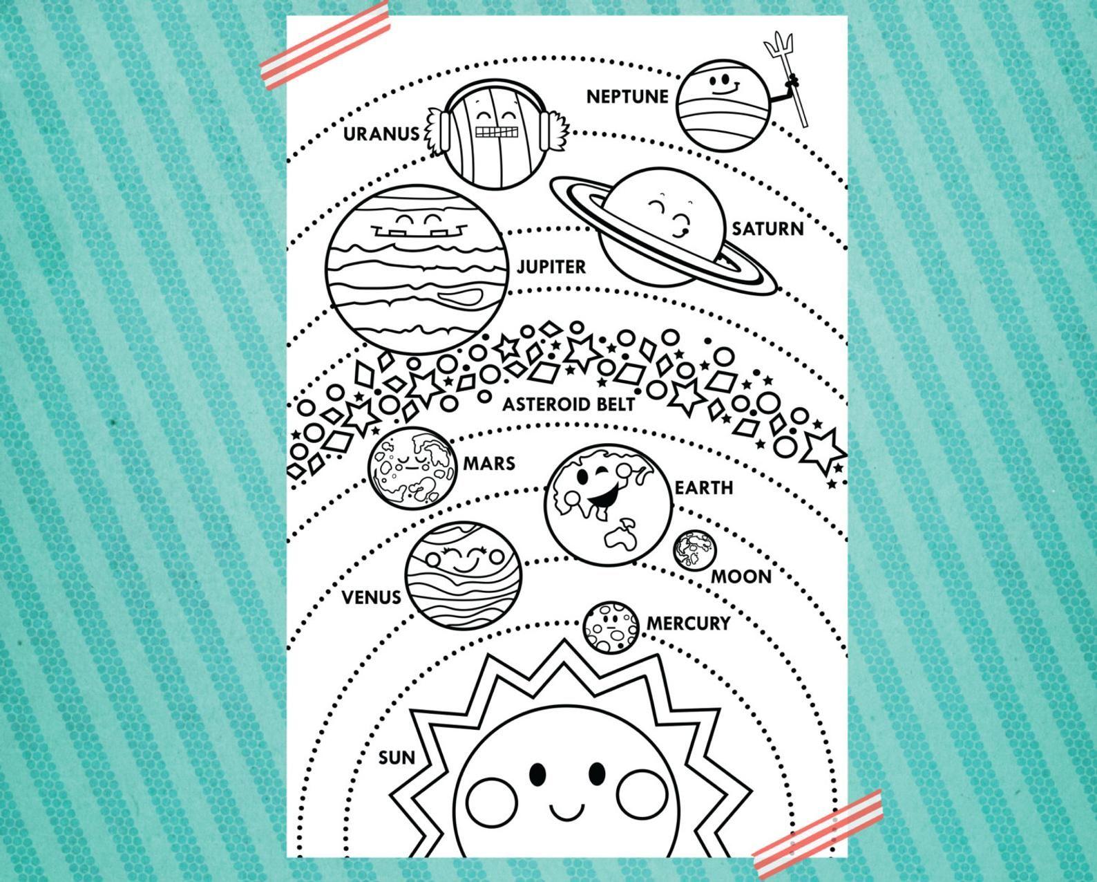 Solar System Printable 24x36 Vertical Layout Etsy Solar System Crafts Solar System Solar System Activities