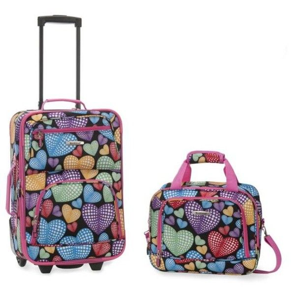 Rockland Heart Print 2 Piece Luggage Set - Hearts ($48) ❤ liked on Polyvore featuring bags, luggage and heart print