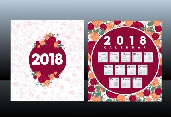 2018 calendar template red roses background decoration. Black Bedroom Furniture Sets. Home Design Ideas