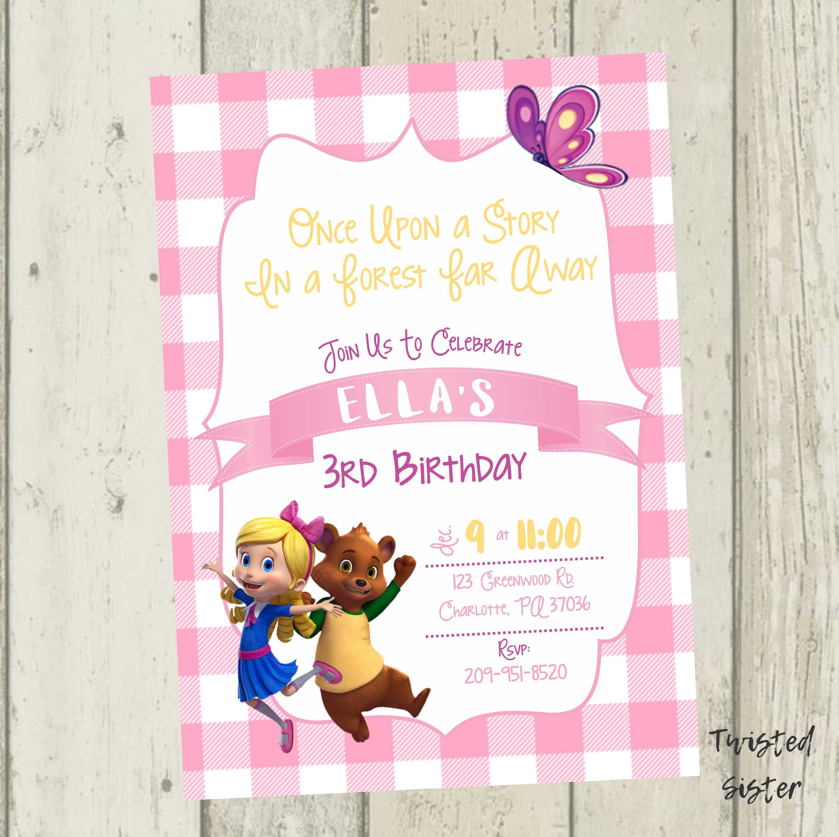 Goldie And Bear Birthday Goldie And Bear Invitation Goldie And