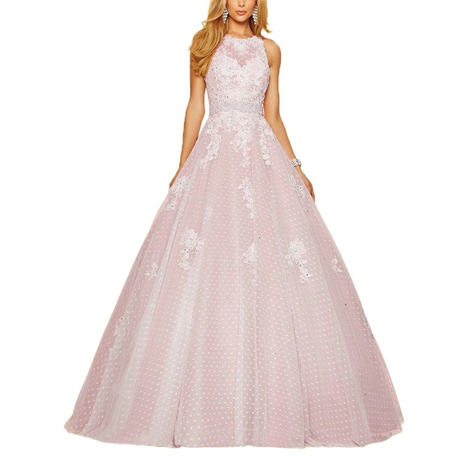 Womenus halter ball gown quinceanera dresses with lace appliques