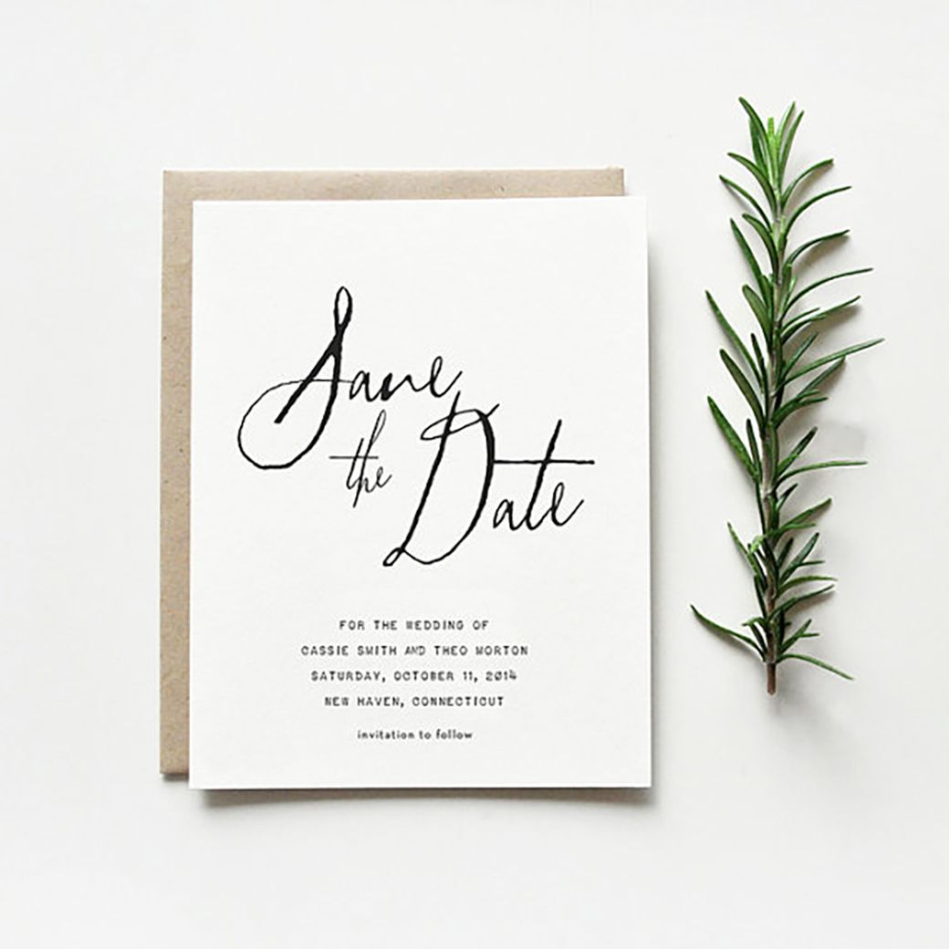 Style The marble black and white and pop of green and texture – Destination Wedding Save the Date Wording Examples