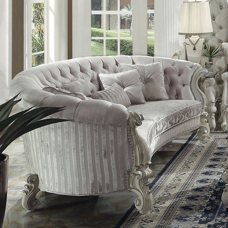 Best Versailles Crescent Living Room Set Ivory Velvet 400 x 300