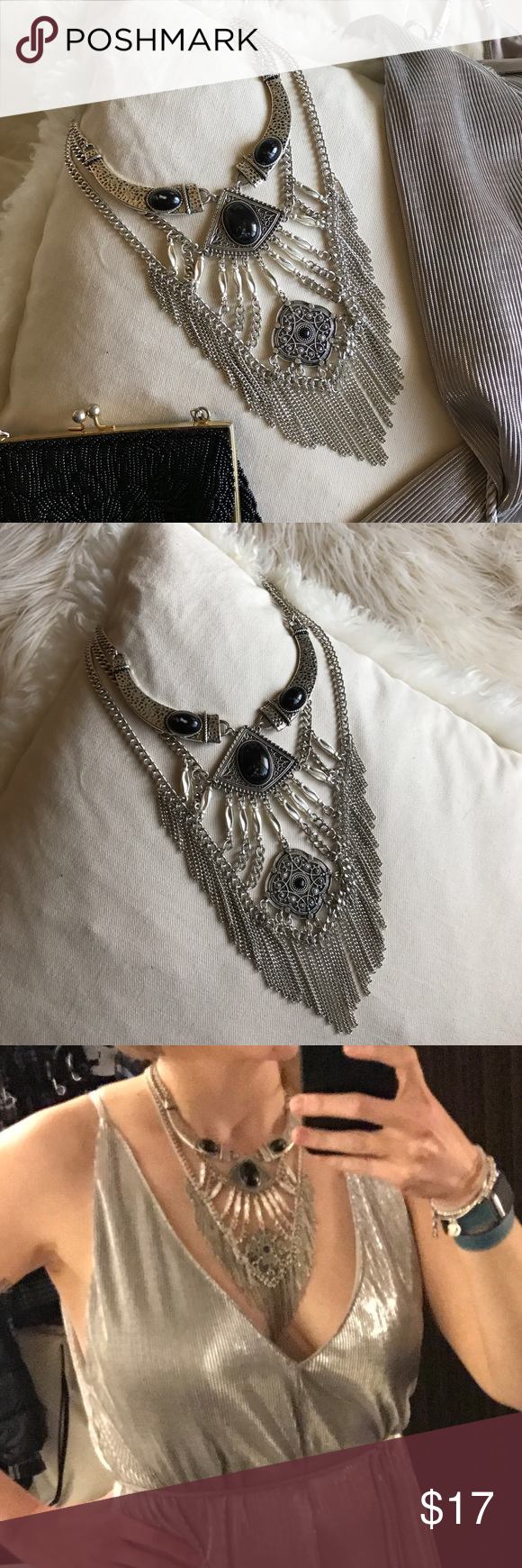"H&M - Fringe Onyx statement necklace ⛓Bold and feisty multilayer statement necklace with onyx styled stones and fringe accent. ⛓28"" at longest point, with 3"" extender. H&M Jewelry Necklaces"