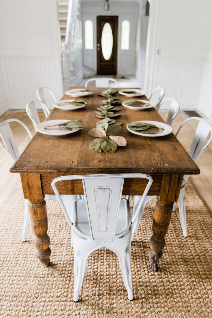 White farmhouse metal chairs dining room decor by liz marie blog
