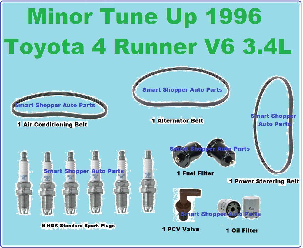 Tune Up 96 Toyota 4 Runner Serpentine Belts Spark Plug Fuel & Oil ...