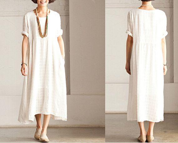 Женщины Белые длинные летние платья