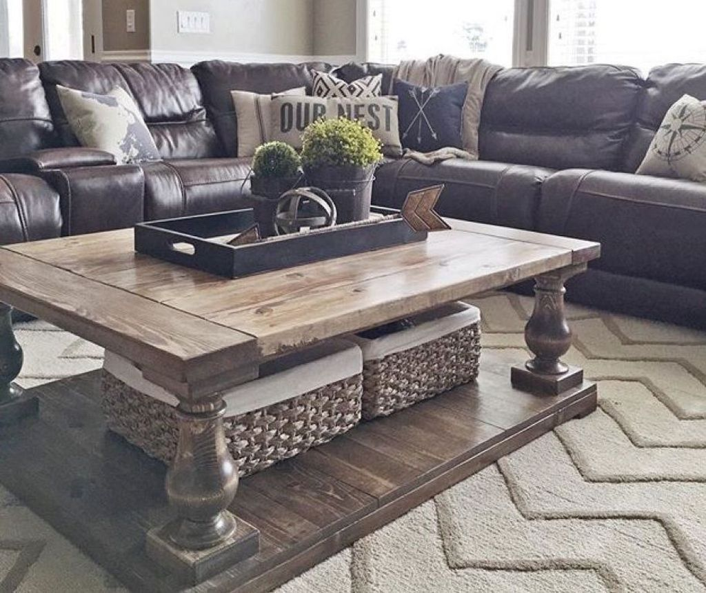 53 lovely farmhouse living room with leather sofa home