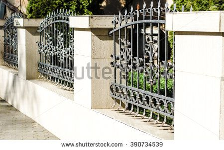 Fence Wrought Iron Fence Forging And Stone Wrought Iron Ornaments Horizontal Photo Wrought Iron Fences Rod Iron Fences Iron Fence