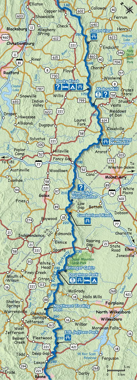 Map of the Blue Ridge Parkway Virginia North Carolina State Line