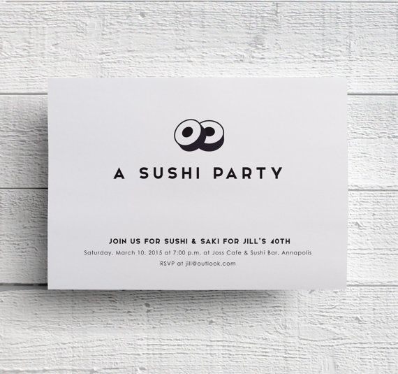 Sushi party invitation sushi birthday party sushi dinner party sushi party invitation sushi birthday party sushi dinner party dinner invite dinner invitation printable birthday dinner celebration stopboris Image collections