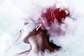 Femeie, Nori, Expunere Dublă, Abstract