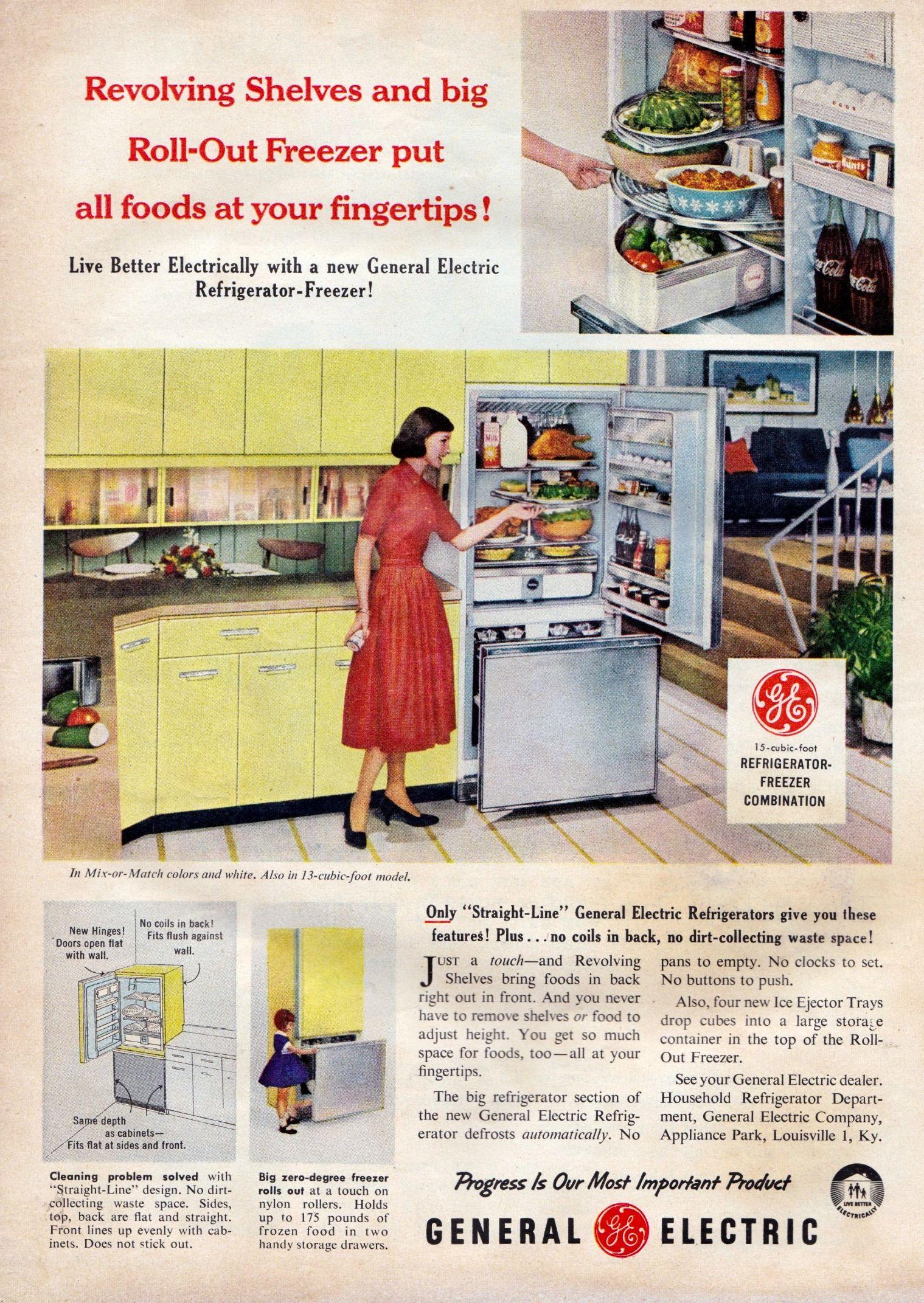 Ge Freezer General Electric Refrigerator Retro Kitchen