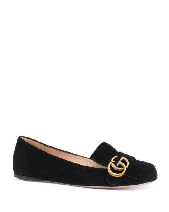 Gucci Women's Marmont Suede Flats Shoes