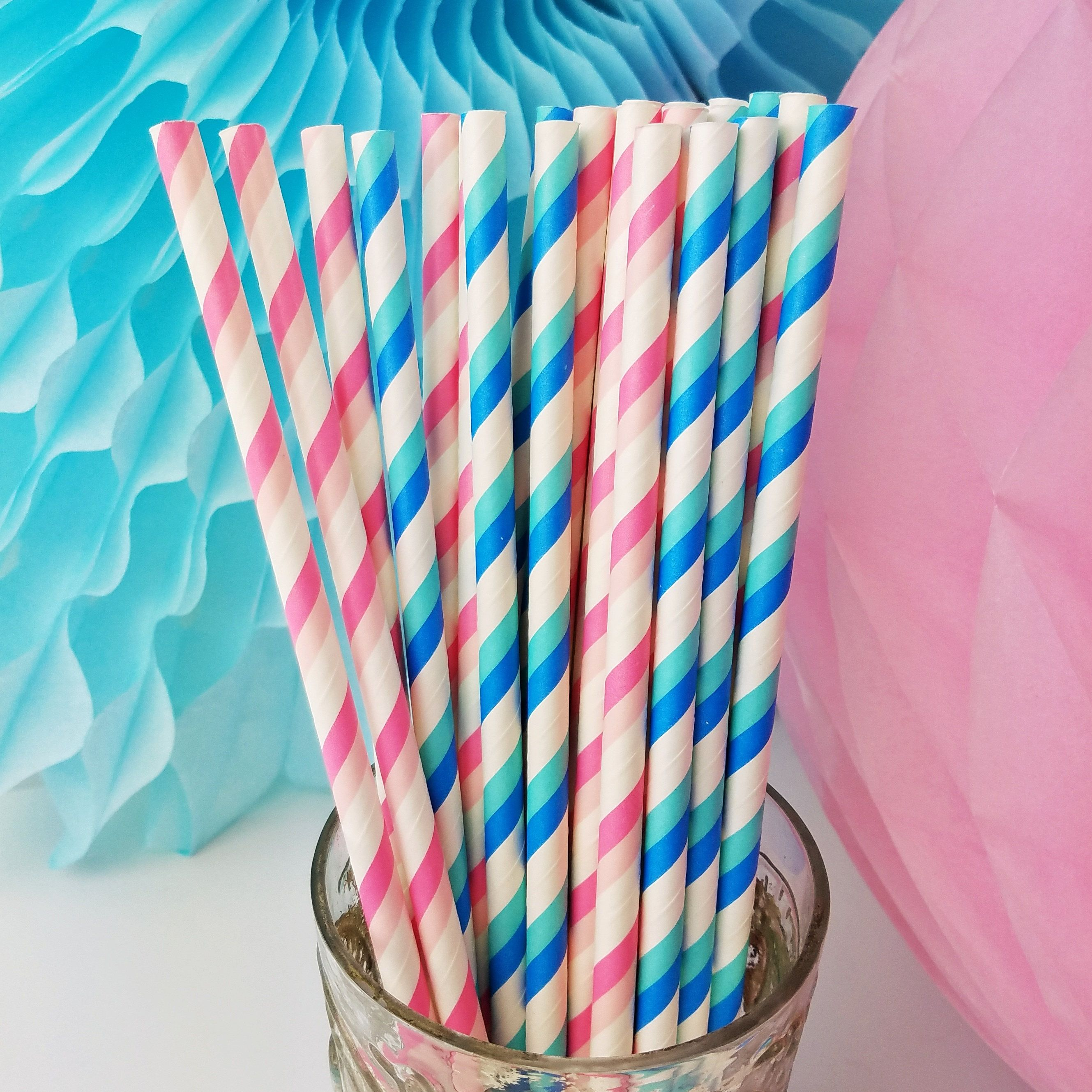 Gender Reveal Party Paper Straw Mix in Blue & Pink for Baby Shower
