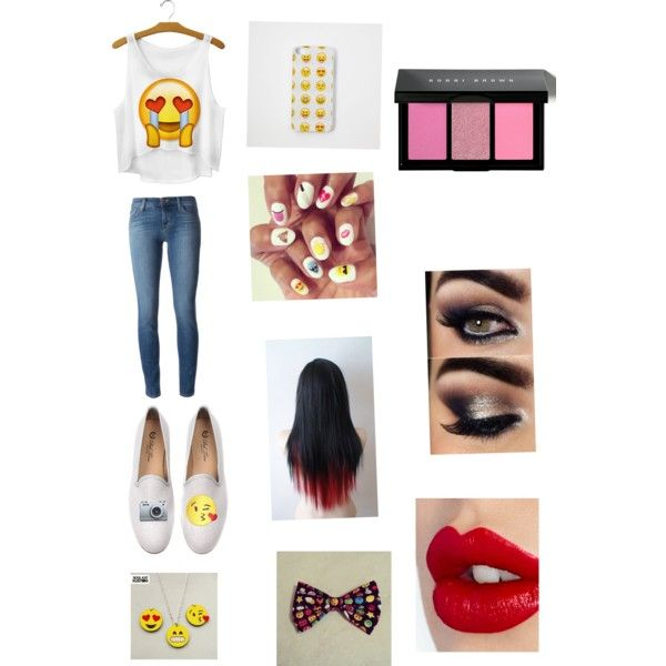 Emoji by raylynn12 on Polyvore featuring polyvore, fashion, style, J Brand, Del Toro, Bobbi Brown Cosmetics and Charlotte Tilbury