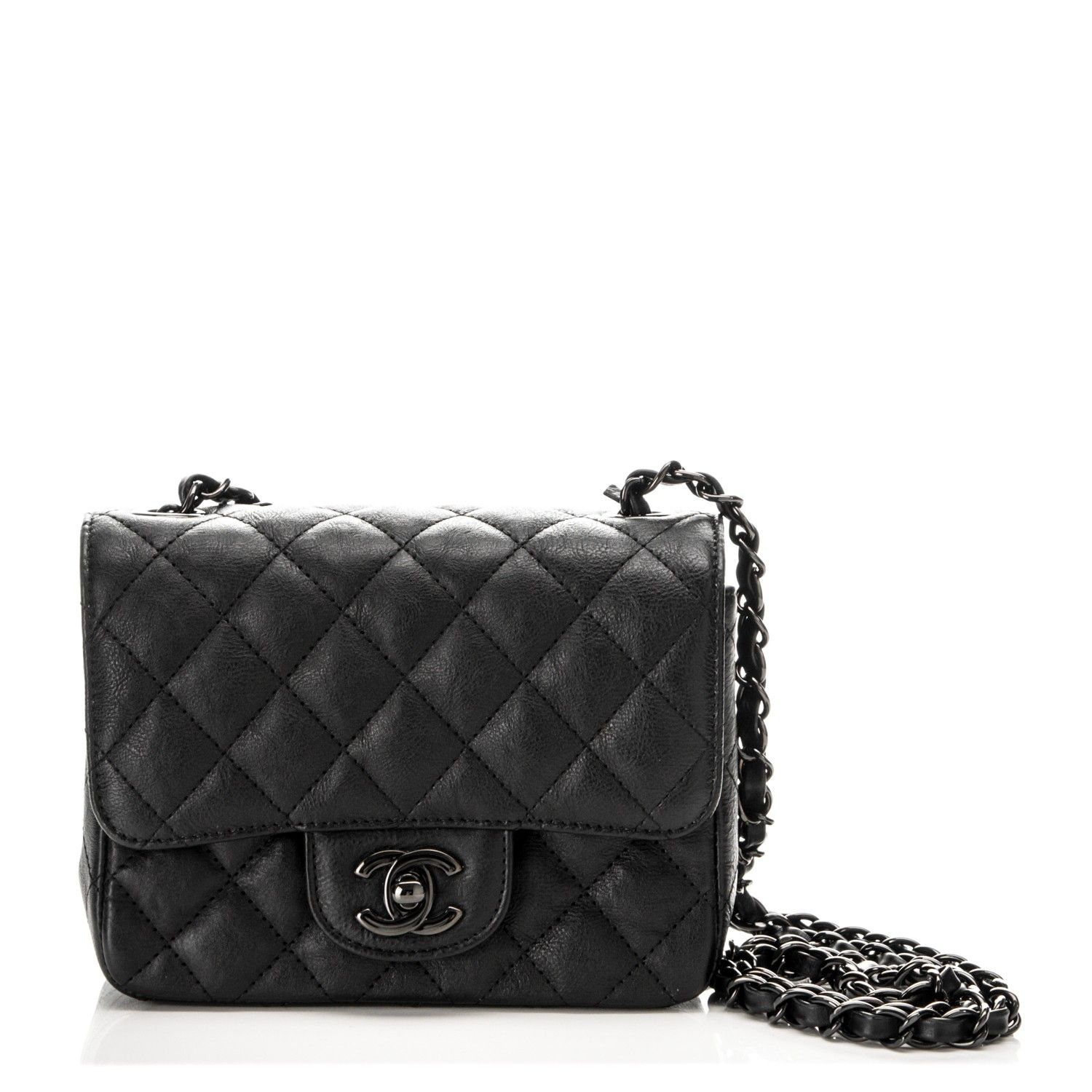 afc4ca8d0c6fc7 CHANEL Crumpled Calfskin Quilted Mini Square Flap So Black | Want ...