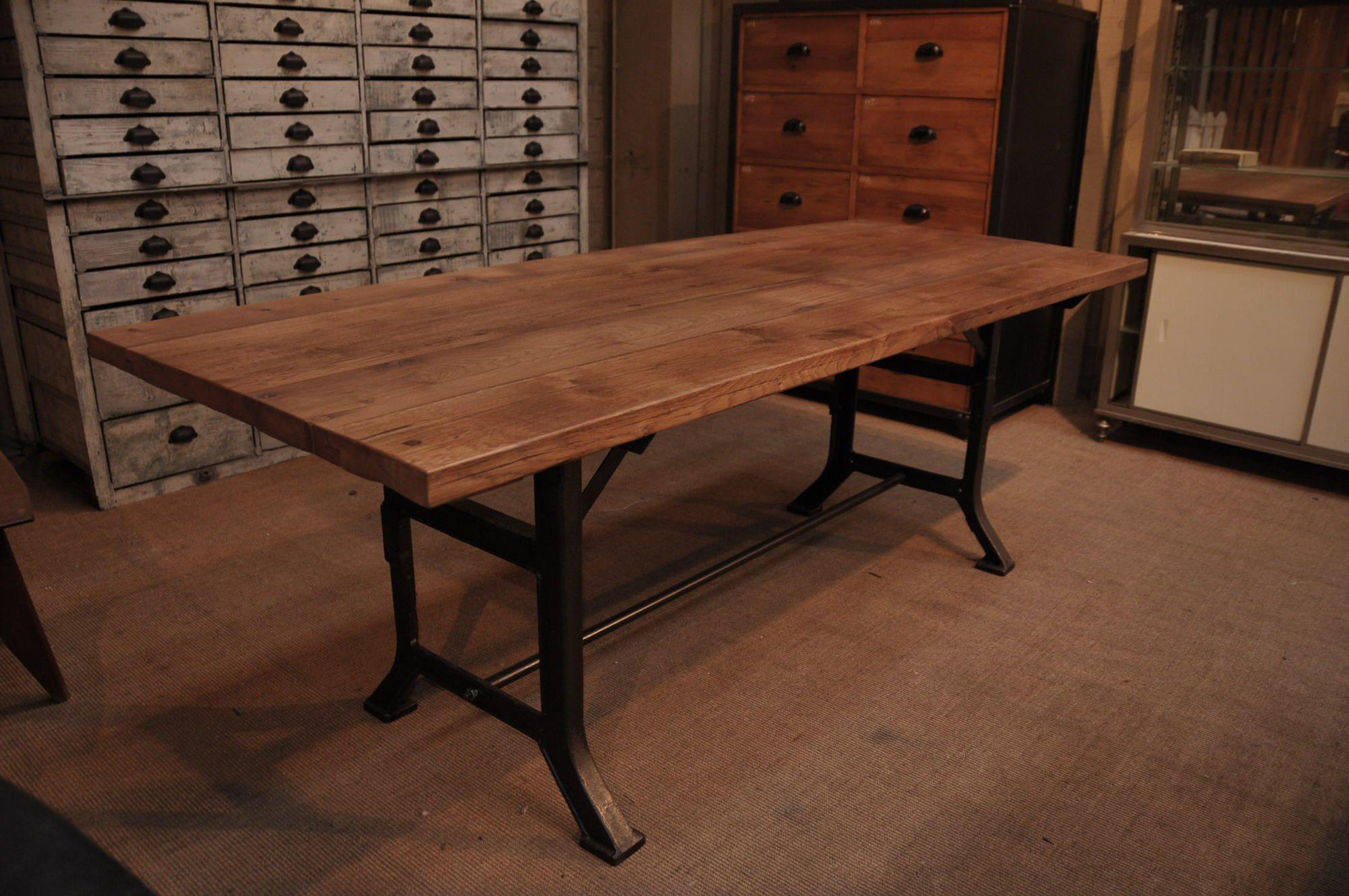 table industrielle chene Le Grenier