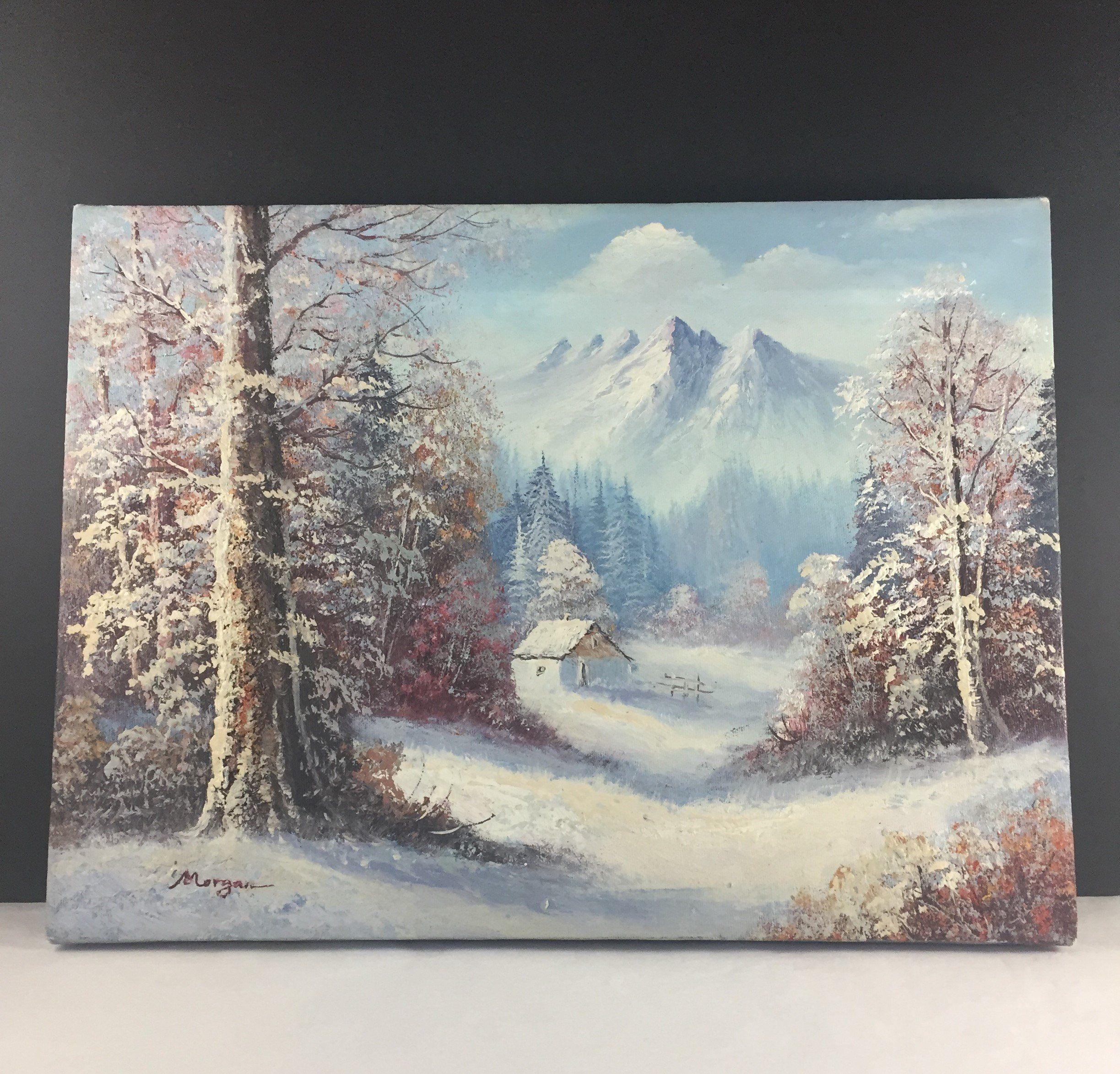 Original Oil Painting Vintage Winter Scene Oil Painting Mountain Scenery Oil Painting 12x16 Canvas Oil Winter Painting Mountain Paintings Bedroom Oil Painting