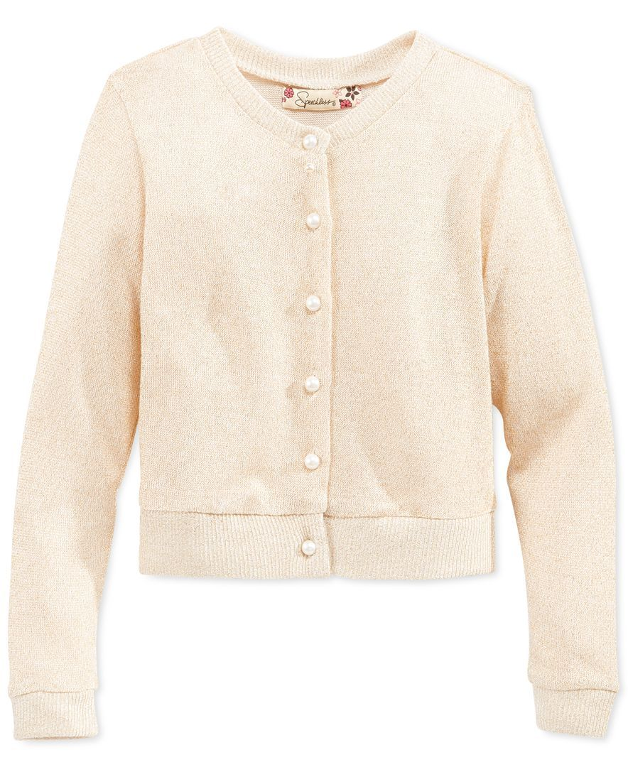 Speechless Girls' Button-Up Cardigan Sweater