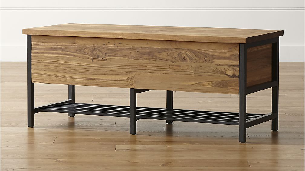saw this bench and thought of your entryway top lifts off for storage inside and on the shelf underneath Teca Storage Trunk Bench - storage trunk bench