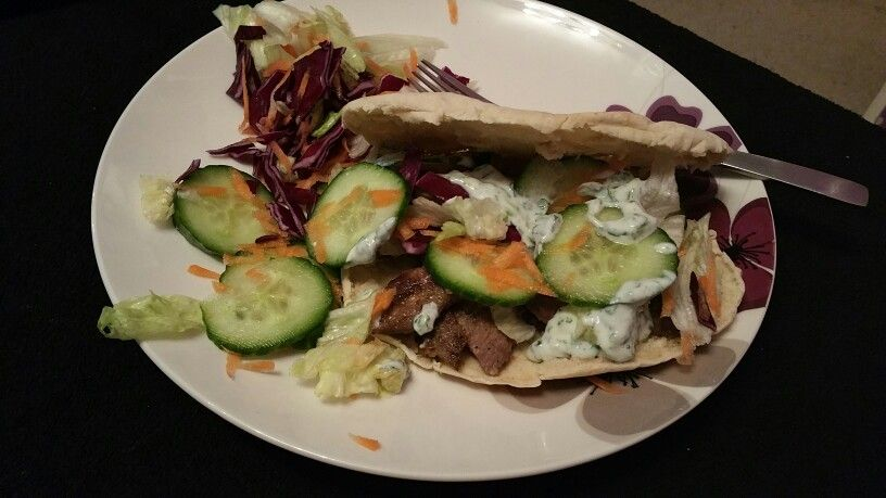 Home made lamb kabab with mint yougart. Yum.