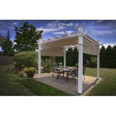 New England Arbors 10 X 10 Malibu Pergola With Canopy By New New England Arbors 2400 00 Classic Traditional St Outdoor Pergola Vinyl Pergola Pergola Patio