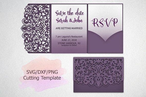 Tri Fold Wedding Invitation Lace Pocket Envelope Trifold Svg