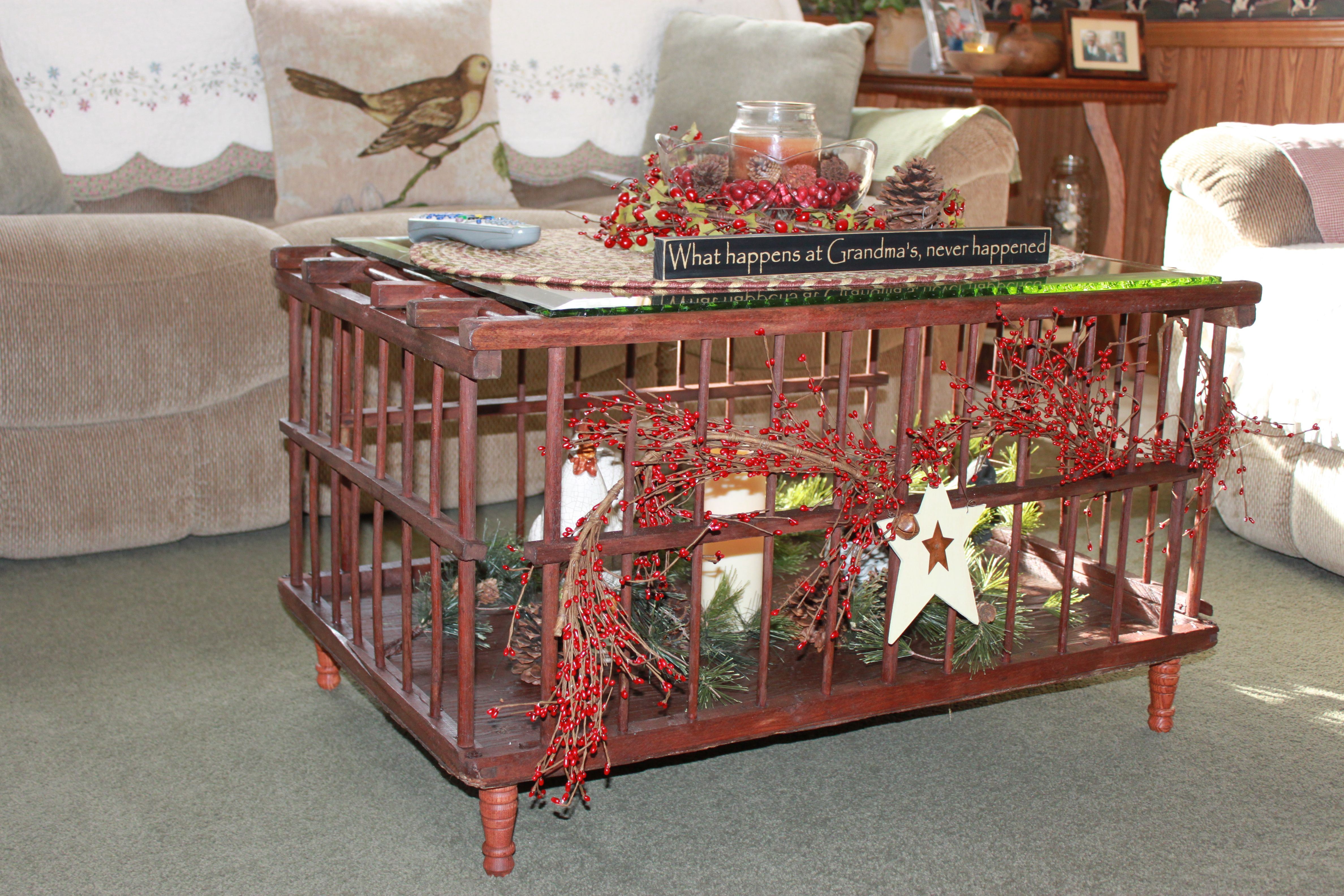 This is my old chicken crate that I stained polyurethaned