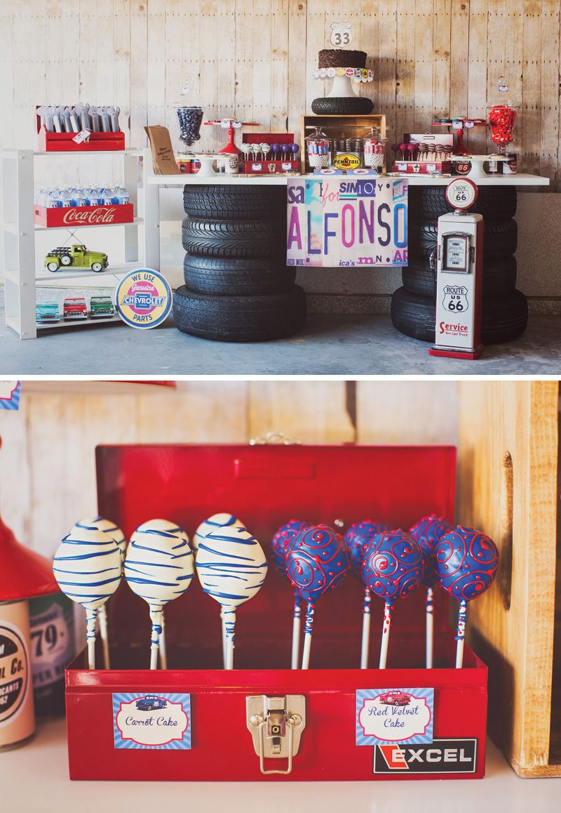 vintage garage inspired adult birthday party cars and trucks party rh pinterest com