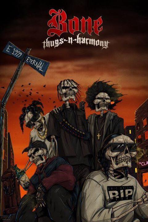 MEN'S BONE THUGS Hear Speak See No Evil T-Shirt Gangster ...  |Bone Thugs Skull