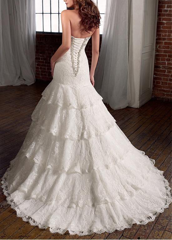 Satinado elegante sirena cariño vestido de novia de escote | novias ...