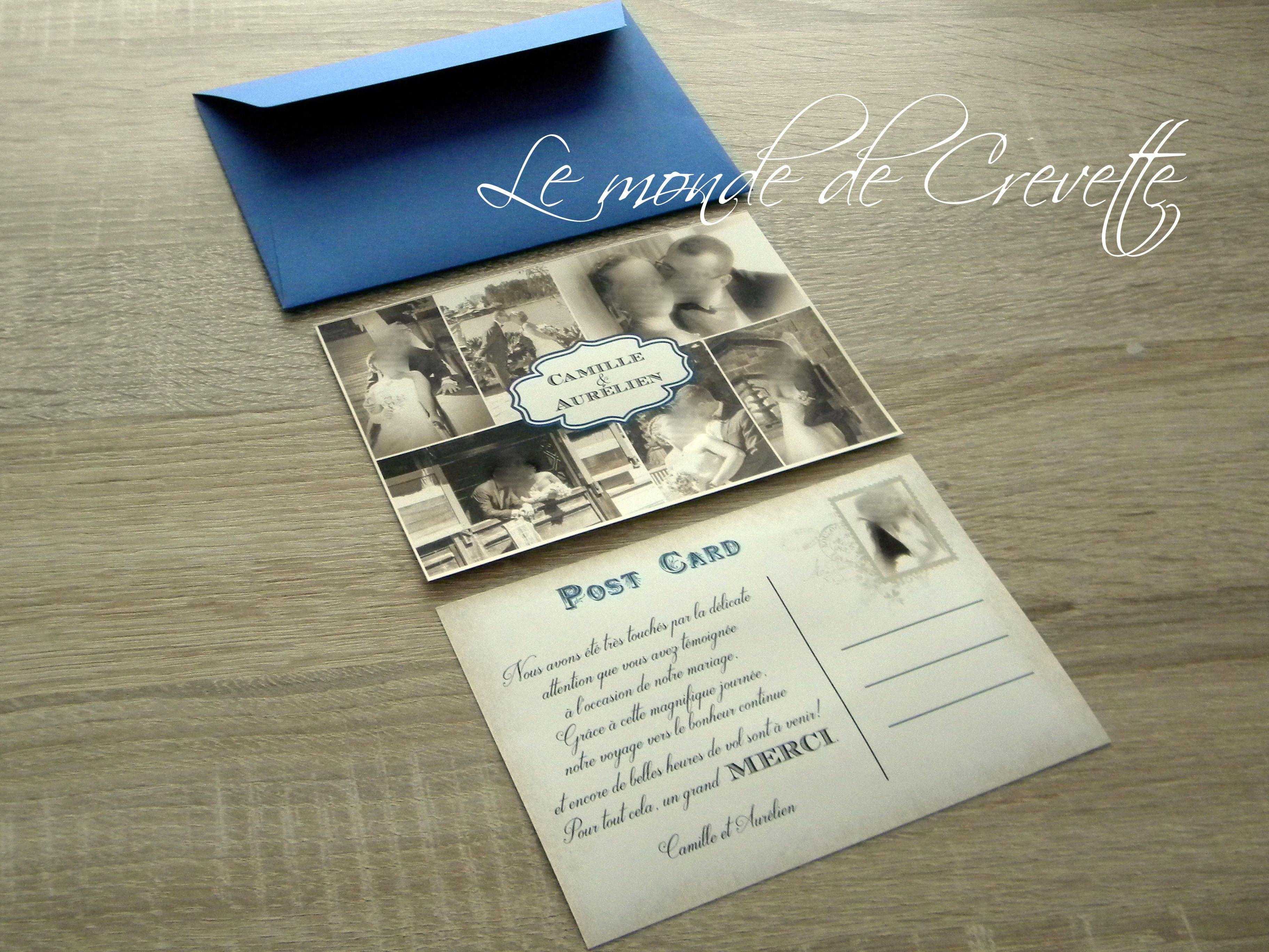 carte postale Thème voyage vintage | Carte de remerciement mariage, Carte remerciement ...