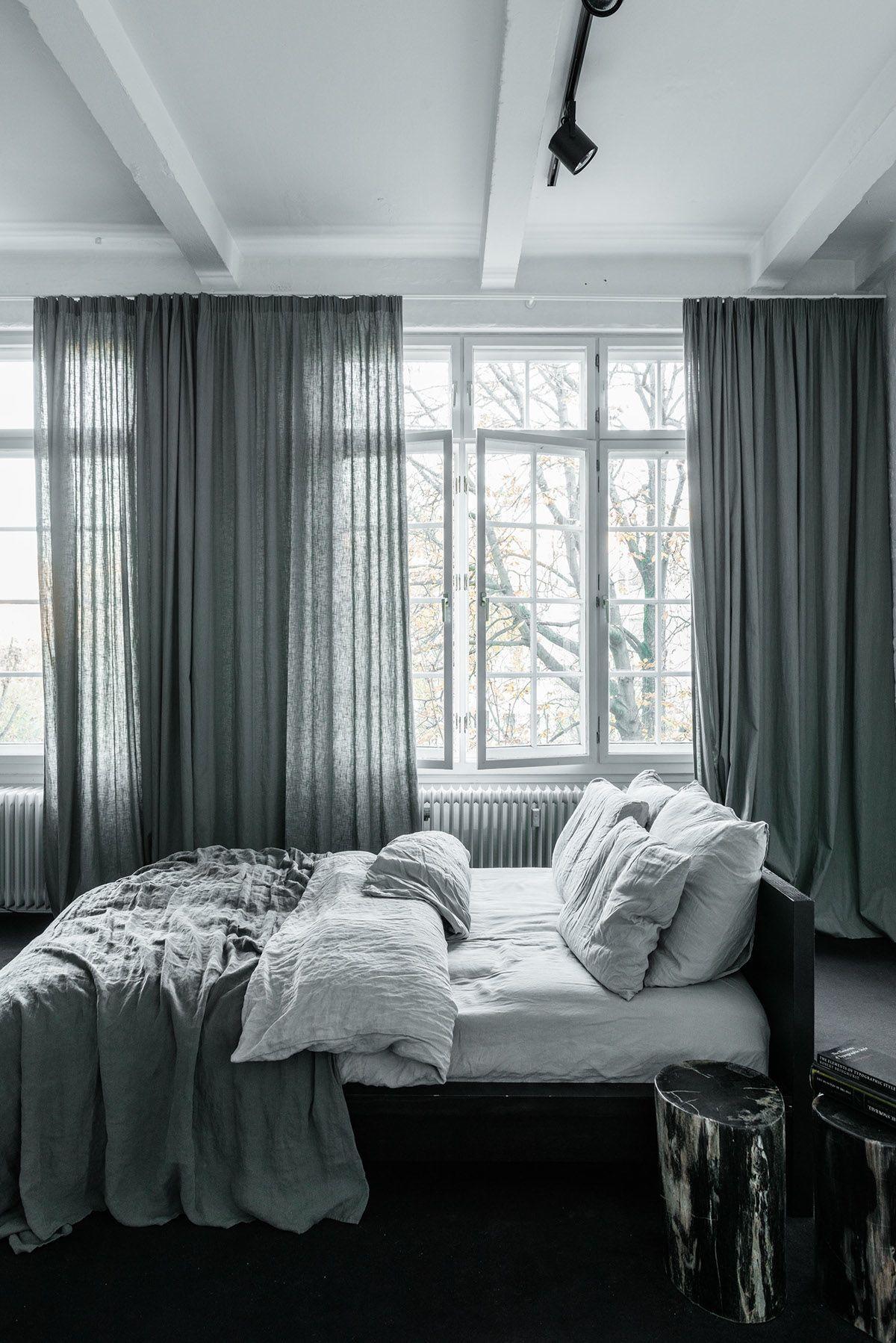 Gray curtains bedroom stylish exposed brick wall lofts  main bedroom  pinterest  bricks