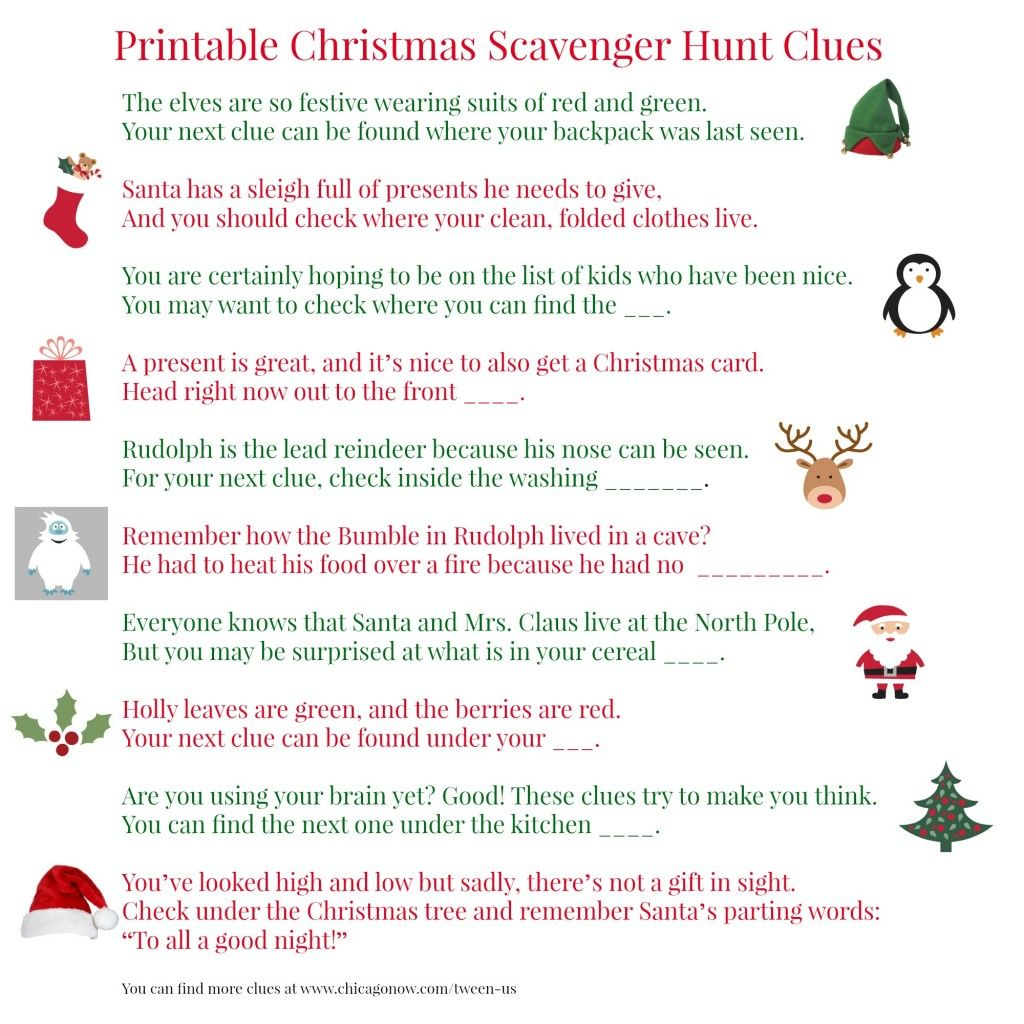 Printable Christmas scavenger hunt clues for present finding fun ...