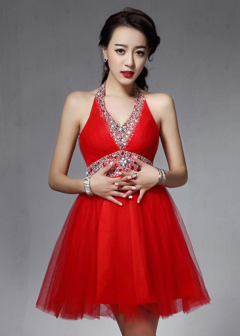 New in stock tulle halter neckline short aline homecoming dress