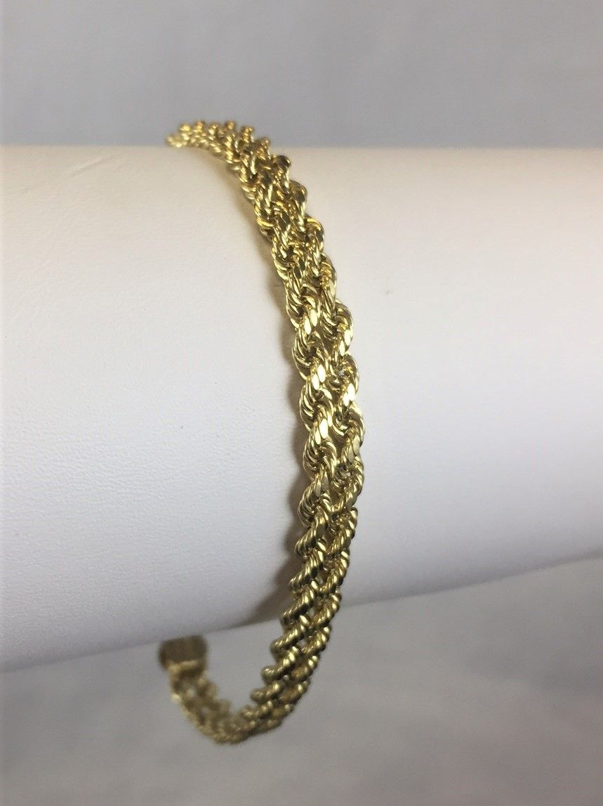 Beautiful 10k Yellow Gold Double Braided Rope Chain Bracelet 7 25 Inches For 79 99 Available At Gadgets And Gold Chain Bracelet Gold Gold Bracelet