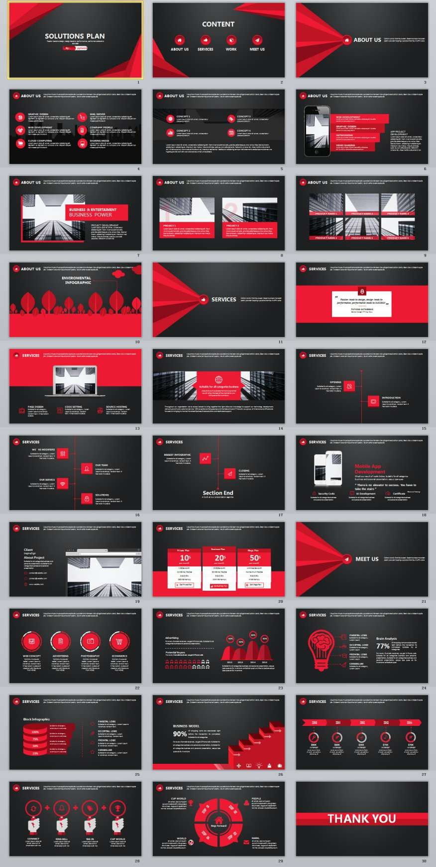 30 Black Red Business Plan Powerpoint Templates Creative