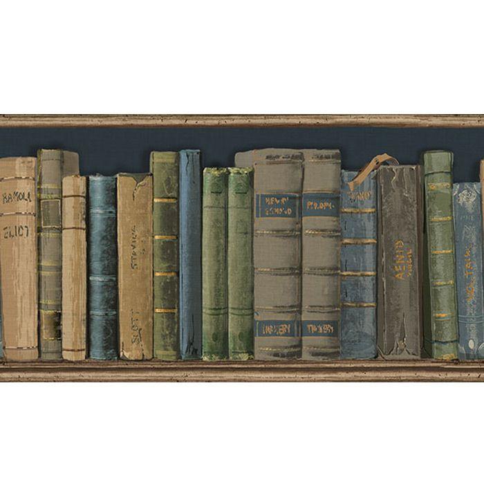 """Shelbourne Border """"bookshelf"""" Wallpaper Steve's Blinds"""