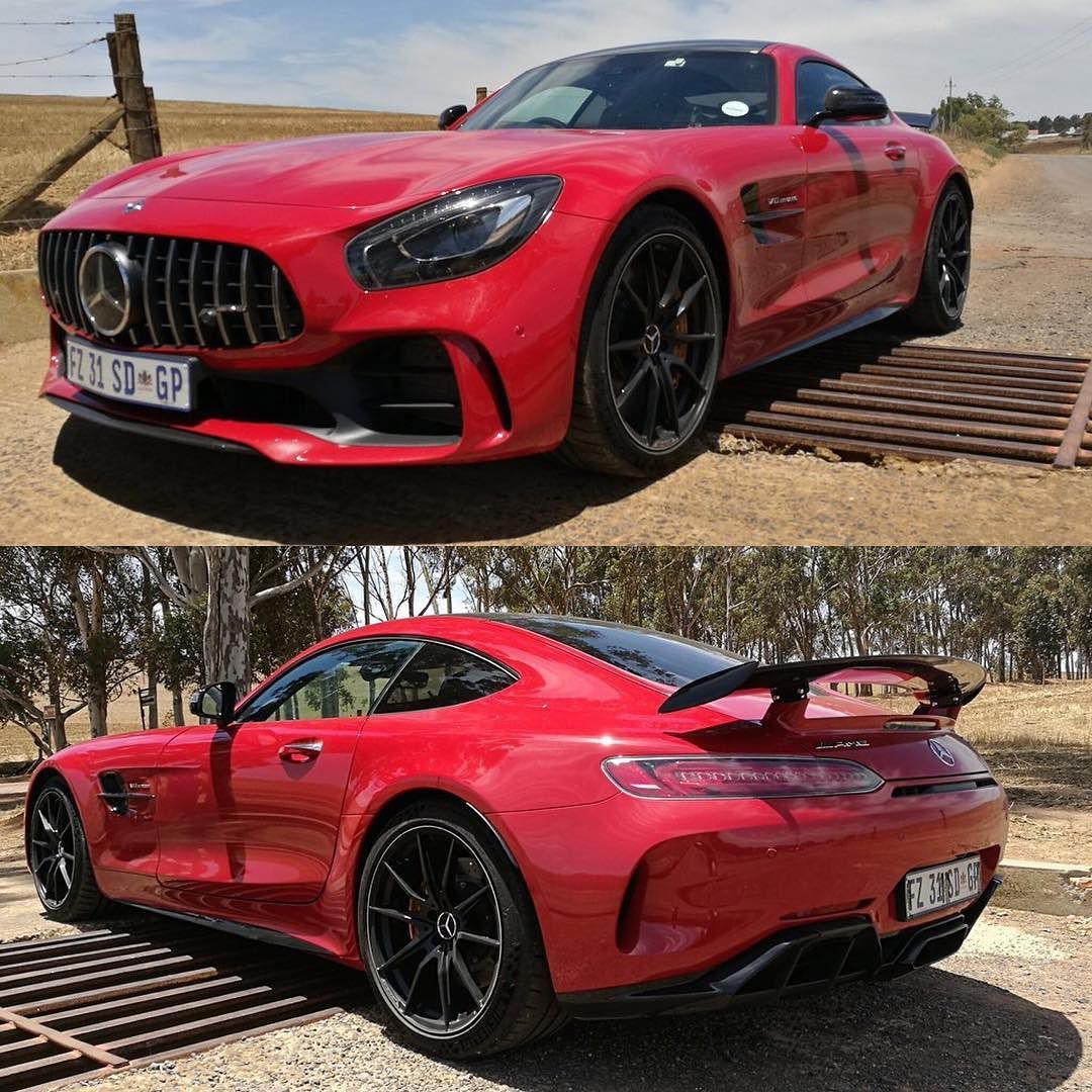 The Mercedes Amg Gt R Looks Superb In Fire Opal Red And Even Better Under The Cape Town Sunshine Via Gerolille Mercedes Amg Gt R Beautiful Cars Amazing Cars
