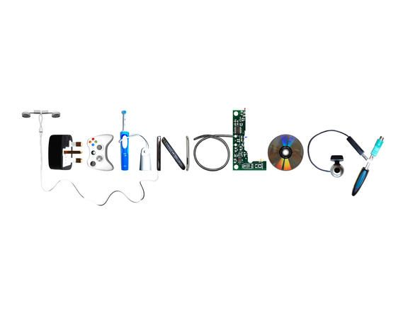 Use Technological devices to create the word #technology