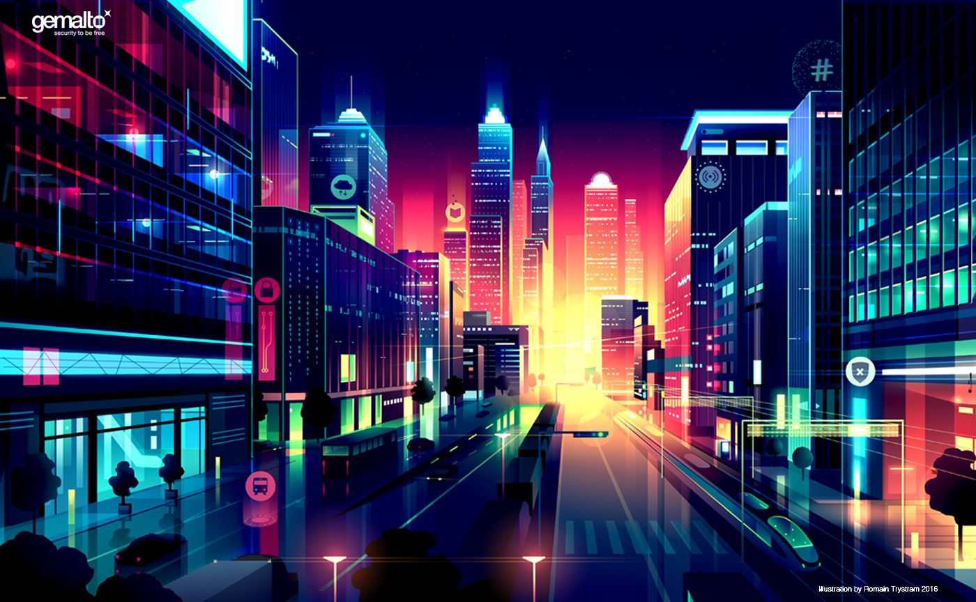 Cities And Lights Illustrations By Romain Trystram HeyDesign - City skylines turned into geometric metropolises by scott uminga